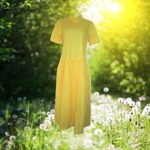 vintage yellow eyelet maxi dress size large 10